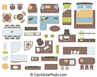 Set of house furniture overhead top view icons flat vector illustration isolated.
