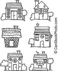 Set of house hand draw collection