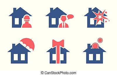 Set of house insurance service icons. Safety and protection of property. Flat vector for website or poster of business company