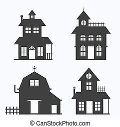 Set of house on white background, vector illustration