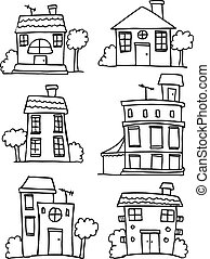 Set of house style hand draw