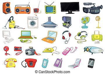 Set of household appliances and electronic devices