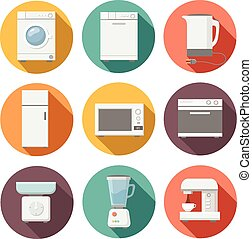 Set of household appliances flat icons on colorful round web buttons with a washing machine. microwave, coffee, fridge, stove. juicer. scales