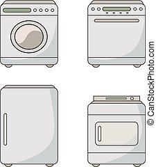 Set of household appliances. Home appliances. Kitchen equipment. Vector flat illustration.