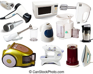 Set of household appliances. Isolated on white background