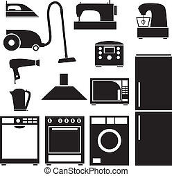 Set of household appliances - Set of silhouette images of ...