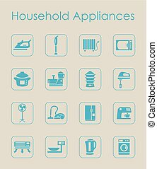 Set of household appliances simple icons - It is a set of...