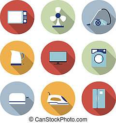 Set of household appliances vector icons