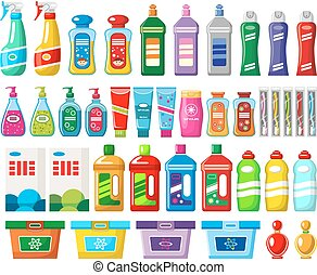 Set of household chemicals and cleaners