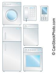 Set of household electronic elements isolated on white