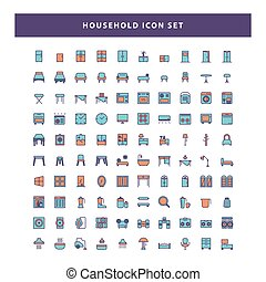 set of household icon with filled outline style design vector