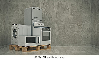 Set of household kitchen - Home appliances. Set of household...