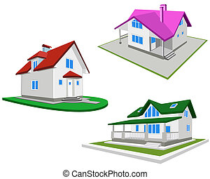 Set of houses on a white background