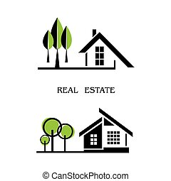 Set of houses icons for real estate business isolated on white background. With natural elements