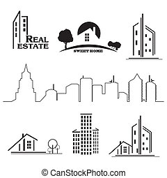 Set of houses icons for real estate business on white background.