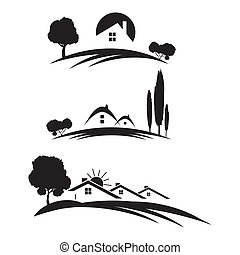Set of houses icons for real estate business with trees on ...