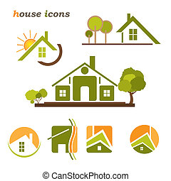 Set of houses icons for real estate business on white...