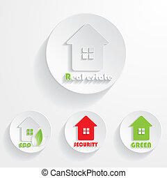 Set of houses icons for real estate business. With natural green elements