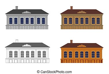 Set of houses in different colours