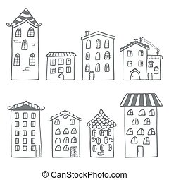 Set of houses in doodle style