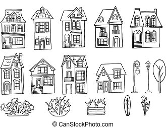 Set of houses with roof window and door. Hand drawn vector illustration on a transparent background. Design for printing postcards, fabrics, leaflets, website design