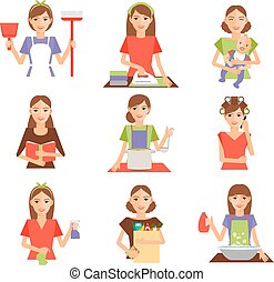Set of housewife icon in flat style
