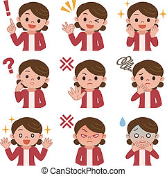 Set of housewife in various poses - Vector illustration.