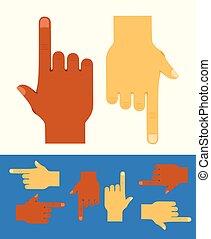 Set of human hands
