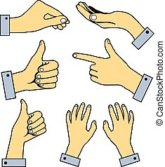 Set of human pointing hands