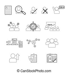 Set of Human Resource Line Icon Editable Stroke - Set of...