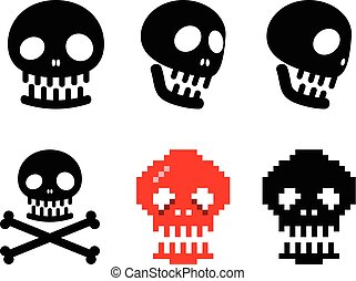Set of human skull icon, vector