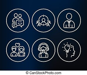 Human, Support and Communication icons. Business targeting, Couple love and Idea signs.