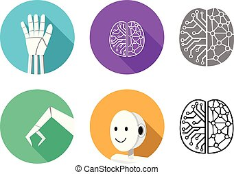 Set of humanoid robot icon in flat style