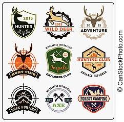 Set of hunting and adventure badge logo design for emblem logo, label design, insignia, sticker