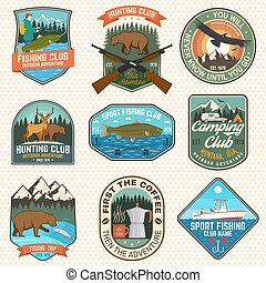 Set of hunting and fishing club patches. Vector. Concept for shirt, logo, stamp, patch. Vintage design with fisherman, fish rod, rainbow trout, hook, deer, bear and forest silhouette