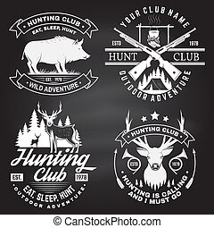 Set of Hunting club badge on the chalkboard. Vector. Concept for shirt, label, print, stamp. Vintage typography design with hunting gun, boar, hunter, deer, mountains and forest.