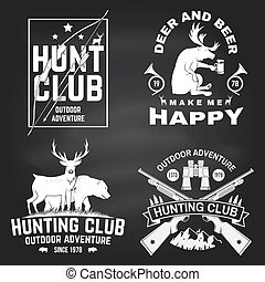 Set of Hunting club badge on the chalkboard. Vector. Concept for shirt, label, print, stamp. Vintage typography design with hunting gun, hunter, bear, deer, mountains and forest.