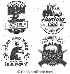 Set of Hunting club badge. Vector Concept for shirt, label, print, stamp. Vintage typography design with hunting gun, hunter, bear, deer, mountains and forest. Outdoor adventure hunt club emblem