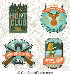 Set of Hunting club badge. Vector Concept for shirt, print, stamp. Vintage typography design with hunting gun, boar, hunter, bear, deer, mountains and forest. Outdoor adventure hunt club emblem