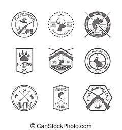Set of hunting label