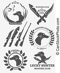 Set of hunting retriever logos, labels and badges. Dog, duck, weapons. Vector illustration