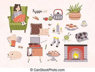 Set of hygge attributes, furniture and home decorations...
