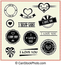 set of I Love You vintage labels