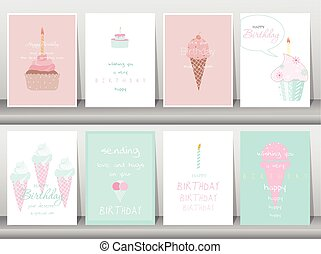 Set of ice cream birthday cards