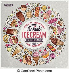 Set of Ice Cream cartoon doodle objects, symbols and items -...