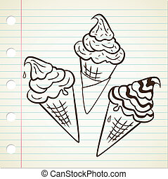 set of ice cream cone
