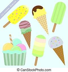 set of ice cream cones and popsicles