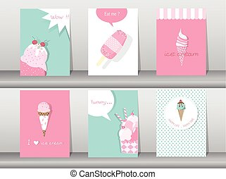 Set of ice cream cones