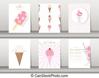 Set of ice cream cones. Design card