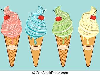 Set of ice cream cones.